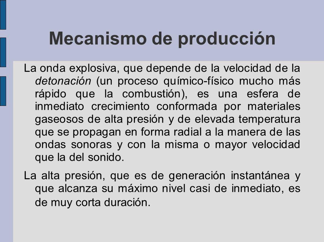 Mecanismo de producción La onda explosiva, que depende de la velocidad de la detonación (un proceso químico-físico mucho más rápido que la combustión)