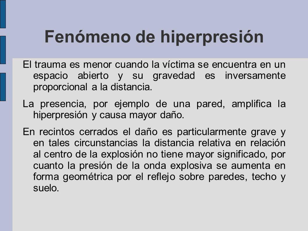Fenómeno de hiperpresión El trauma es menor cuando la víctima se encuentra en un espacio abierto y su gravedad es inversamente proporcional a la dista
