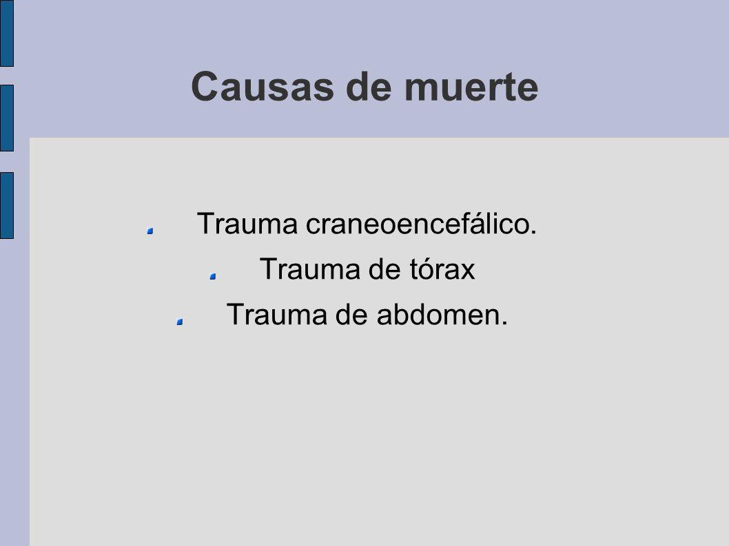 Causas de muerte Trauma craneoencefálico. Trauma de tórax Trauma de abdomen.