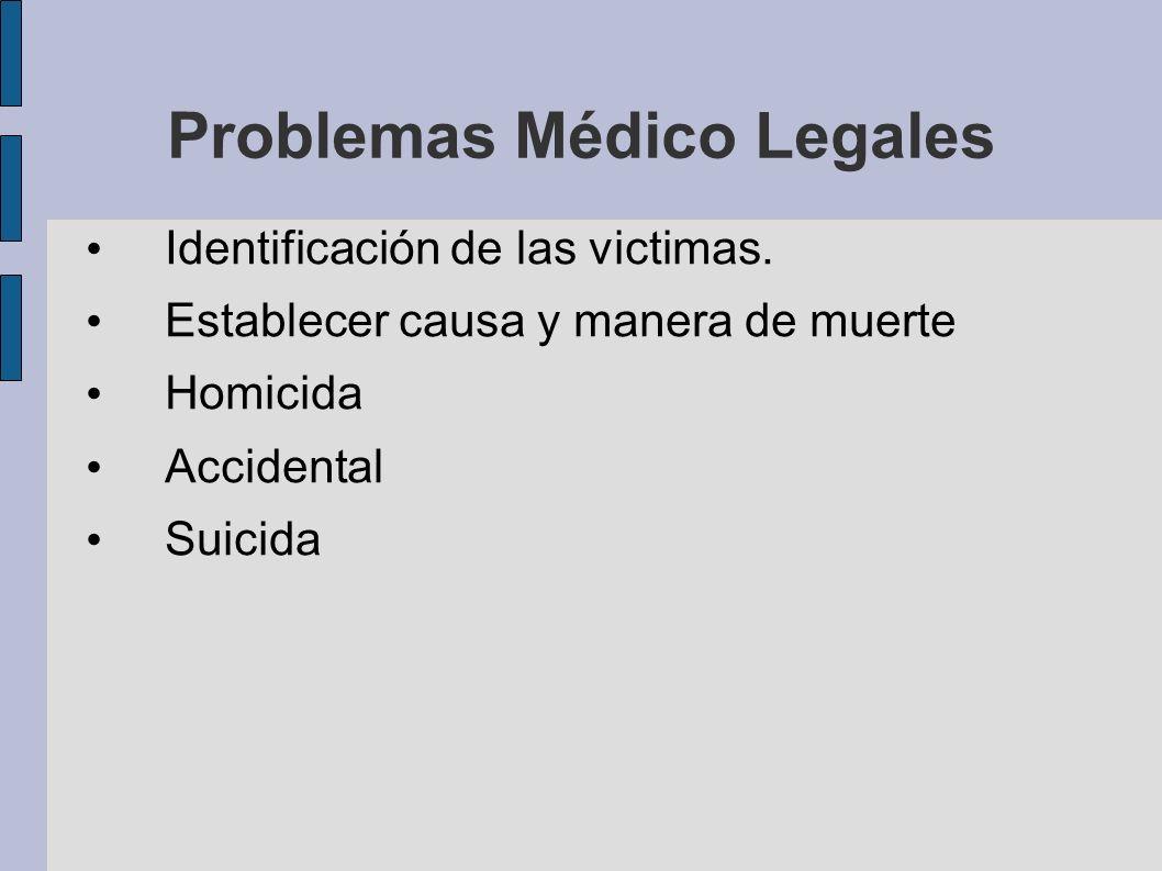 Problemas Médico Legales Identificación de las victimas. Establecer causa y manera de muerte Homicida Accidental Suicida