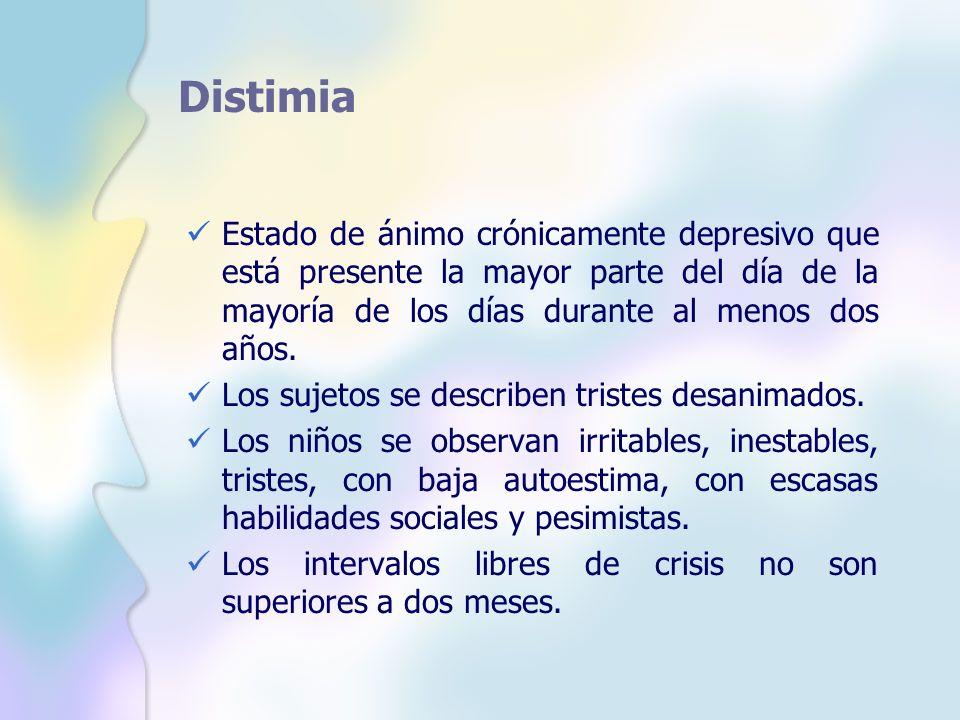Distimia Estado de ánimo crónicamente depresivo que está presente la mayor parte del día de la mayoría de los días durante al menos dos años. Los suje