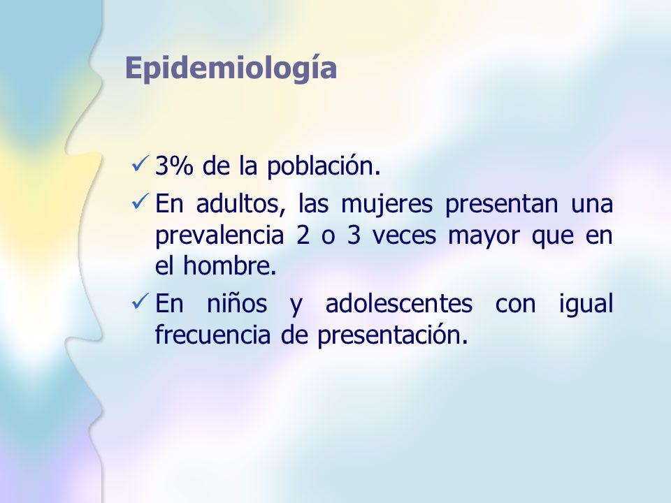 Epidemiología 3% de la población. En adultos, las mujeres presentan una prevalencia 2 o 3 veces mayor que en el hombre. En niños y adolescentes con ig