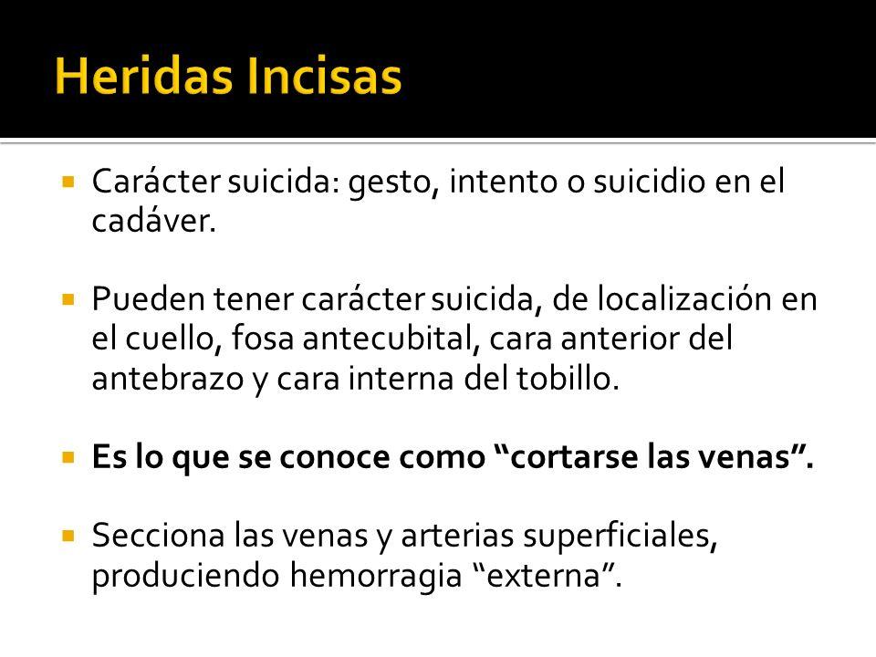 Carácter suicida: gesto, intento o suicidio en el cadáver. Pueden tener carácter suicida, de localización en el cuello, fosa antecubital, cara anterio