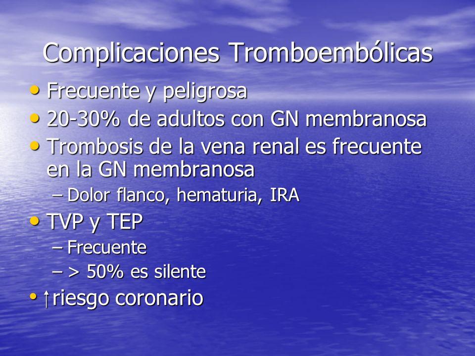 Complicaciones Tromboembólicas Frecuente y peligrosa Frecuente y peligrosa 20-30% de adultos con GN membranosa 20-30% de adultos con GN membranosa Tro
