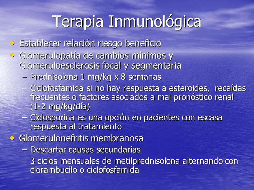 Terapia Inmunológica Establecer relación riesgo beneficio Establecer relación riesgo beneficio Glomerulopatía de cambios mínimos y Glomeruloesclerosis