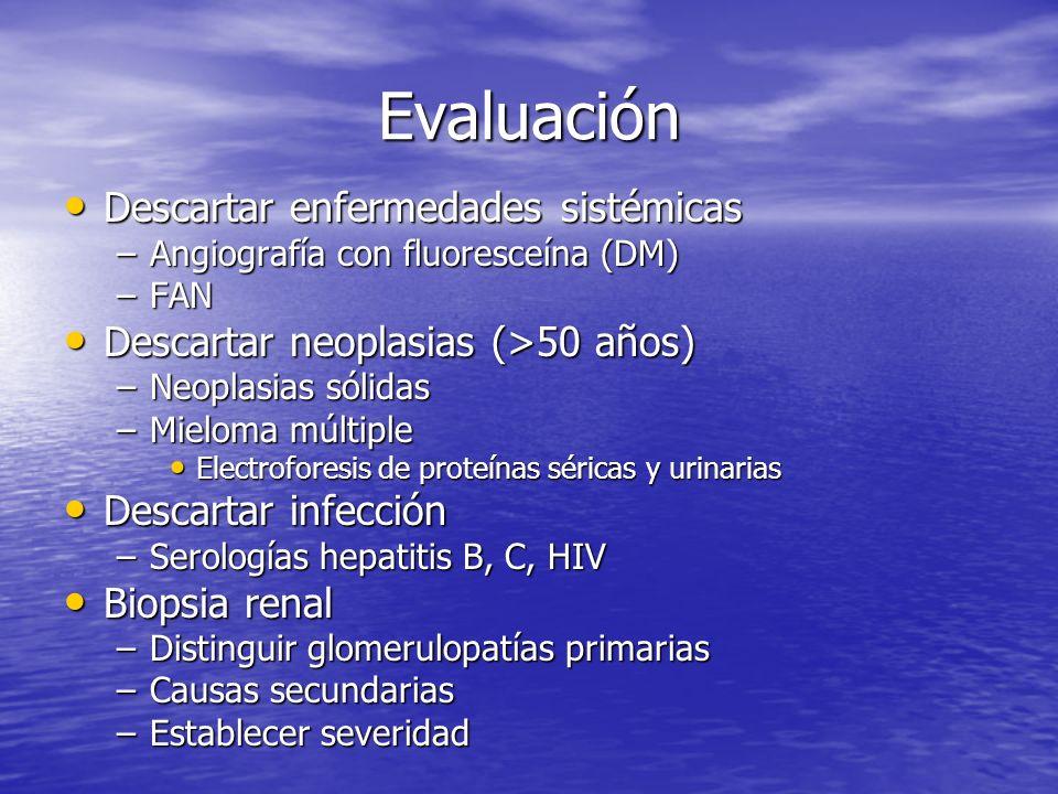 Evaluación Descartar enfermedades sistémicas Descartar enfermedades sistémicas –Angiografía con fluoresceína (DM) –FAN Descartar neoplasias (>50 años)