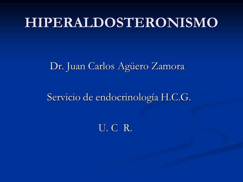 HIPERALDOSTERONISMO Dr. Juan Carlos Agüero Zamora Dr. Juan Carlos Agüero Zamora Servicio de endocrinología H.C.G. Servicio de endocrinología H.C.G. U.