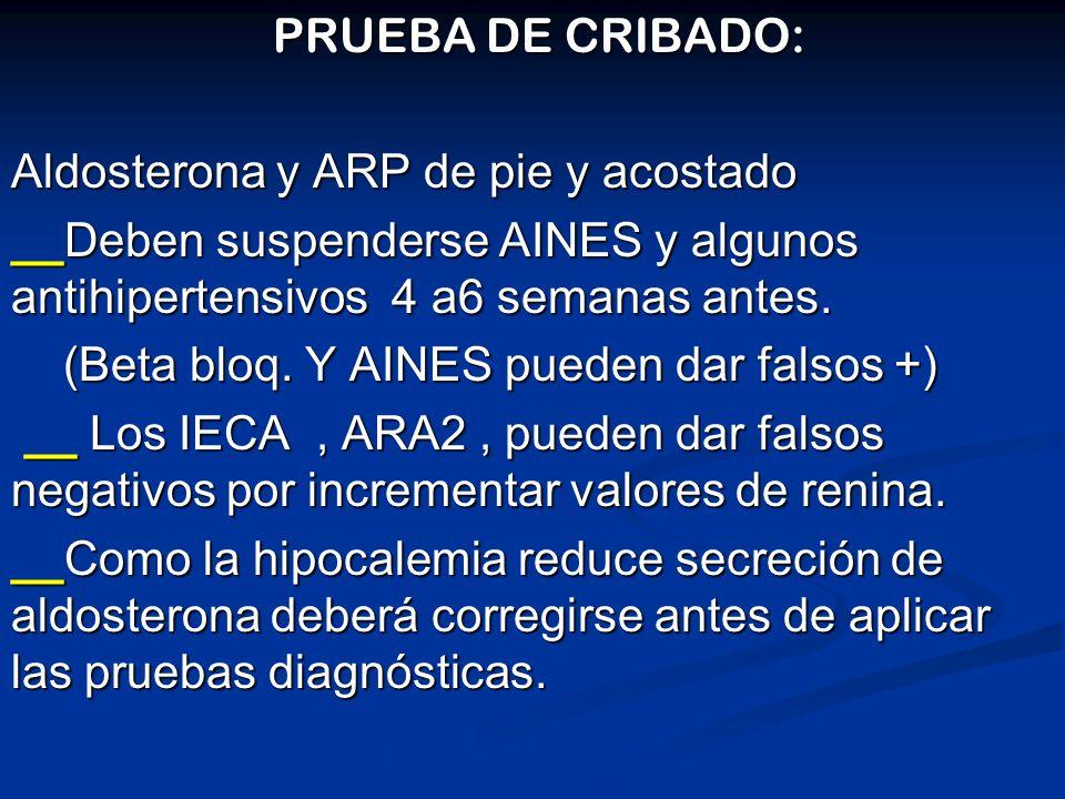 PRUEBA DE CRIBADO: PRUEBA DE CRIBADO: Aldosterona y ARP de pie y acostado __Deben suspenderse AINES y algunos antihipertensivos 4 a6 semanas antes. (B