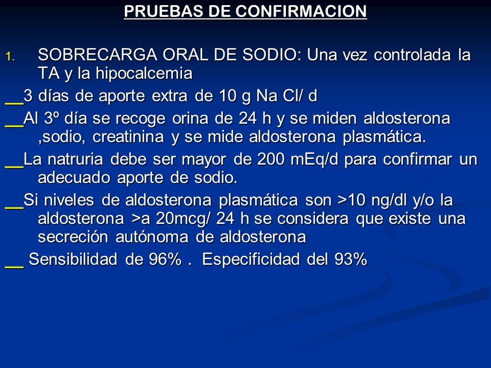 PRUEBAS DE CONFIRMACION 1. SOBRECARGA ORAL DE SODIO: Una vez controlada la TA y la hipocalcemia __3 días de aporte extra de 10 g Na Cl/ d __Al 3º día