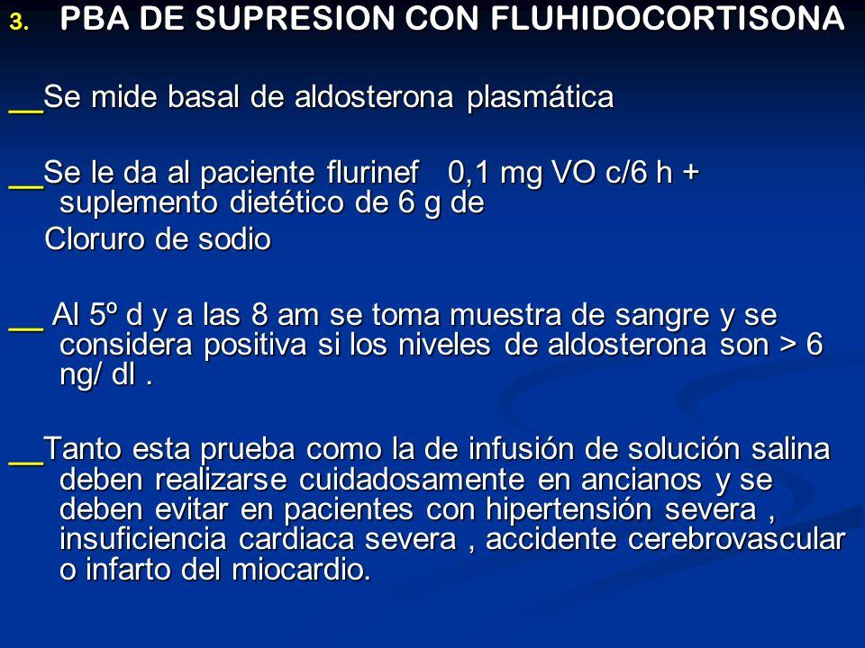 3. PBA DE SUPRESION CON FLUHIDOCORTISONA __Se mide basal de aldosterona plasmática __Se le da al paciente flurinef 0,1 mg VO c/6 h + suplemento dietét