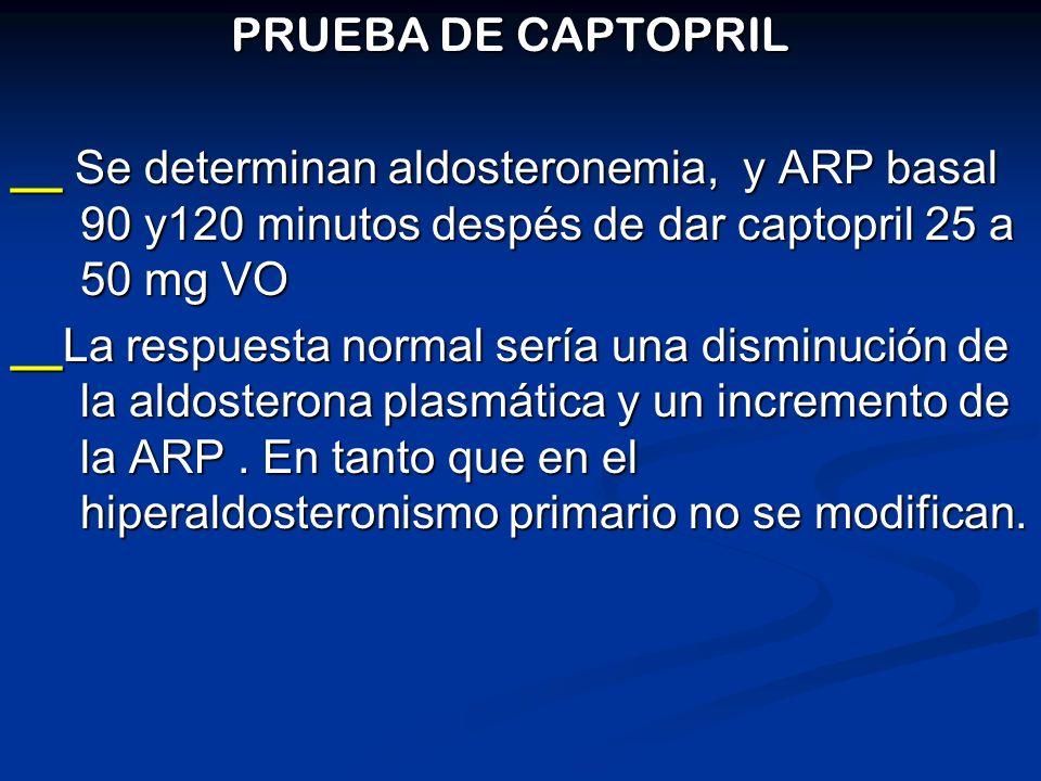 PRUEBA DE CAPTOPRIL PRUEBA DE CAPTOPRIL __ Se determinan aldosteronemia, y ARP basal 90 y120 minutos despés de dar captopril 25 a 50 mg VO __La respue