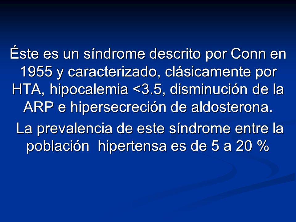 Éste es un síndrome descrito por Conn en 1955 y caracterizado, clásicamente por HTA, hipocalemia <3.5, disminución de la ARP e hipersecreción de aldos