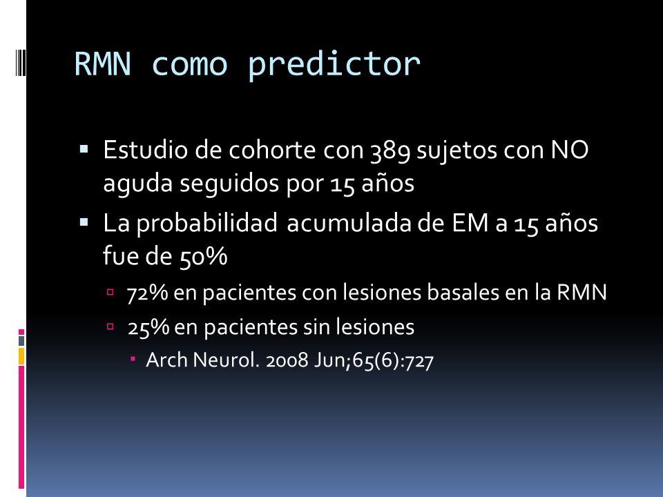 RMN como predictor Estudio de cohorte con 389 sujetos con NO aguda seguidos por 15 años La probabilidad acumulada de EM a 15 años fue de 50% 72% en pacientes con lesiones basales en la RMN 25% en pacientes sin lesiones Arch Neurol.