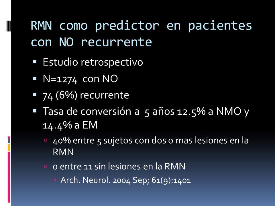 RMN como predictor en pacientes con NO recurrente Estudio retrospectivo N=1274 con NO 74 (6%) recurrente Tasa de conversión a 5 años 12.5% a NMO y 14.4% a EM 40% entre 5 sujetos con dos o mas lesiones en la RMN 0 entre 11 sin lesiones en la RMN Arch.