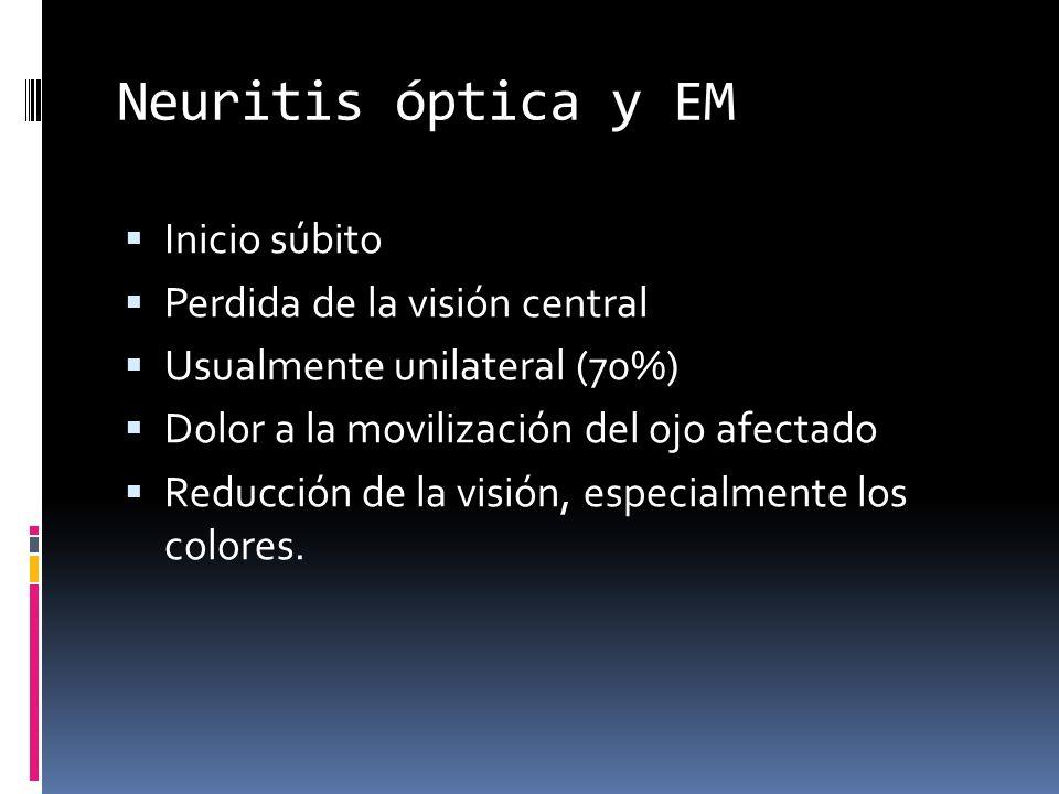 Neuritis óptica y EM Inicio súbito Perdida de la visión central Usualmente unilateral (70%) Dolor a la movilización del ojo afectado Reducción de la visión, especialmente los colores.