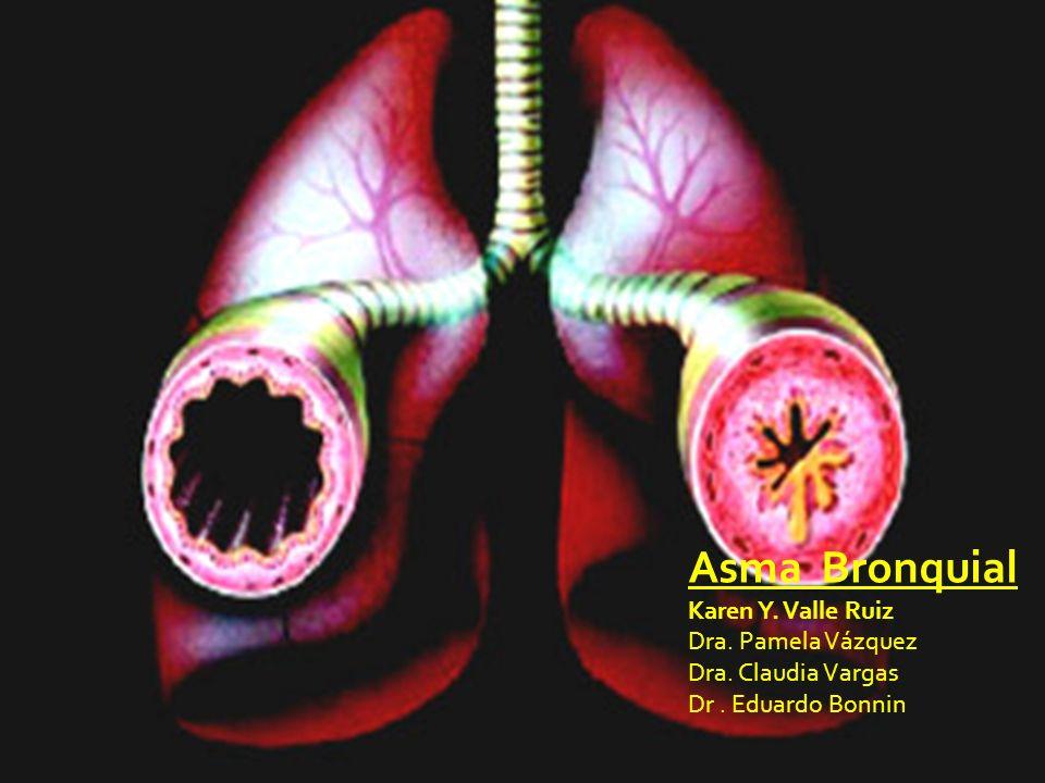 Características Controlada (todos los criterios) Parcialmente controlada (cualquier criterio) Descontrolada Síntomas diurnos 2 ó menos por semana Mas de 2 por semana 3 ó mas criterios de la parcialmente controlada en cualquier semana Limitación de la actividades NingunaCualquiera Síntomas nocturnosNingunaCualquiera Necesidad de medicamento de rescate 2 ó menos por semana Mas de 2 por semana Función pulmonar (FEM ó VEF 1 ) Normal <80% del predicho en cualquier día ExacerbaciónNinguna 1 en 1 año 1 en 1 semana Global Initiative for Asthma (GINA).
