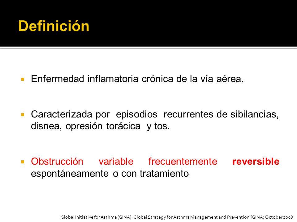 Enfermedad inflamatoria crónica de la vía aérea. Caracterizada por episodios recurrentes de sibilancias, disnea, opresión torácica y tos. Obstrucción