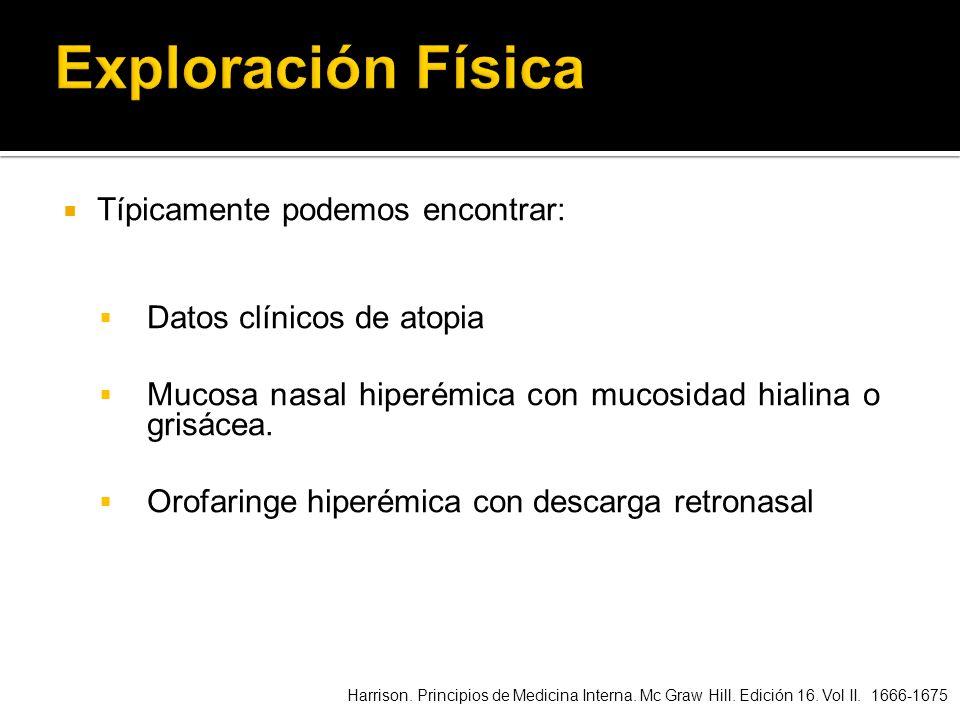 Típicamente podemos encontrar: Datos clínicos de atopia Mucosa nasal hiperémica con mucosidad hialina o grisácea. Orofaringe hiperémica con descarga r