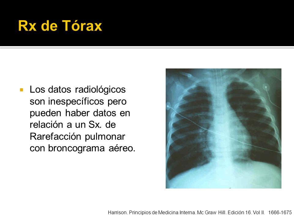 Los datos radiológicos son inespecíficos pero pueden haber datos en relación a un Sx. de Rarefacción pulmonar con broncograma aéreo. Harrison. Princip