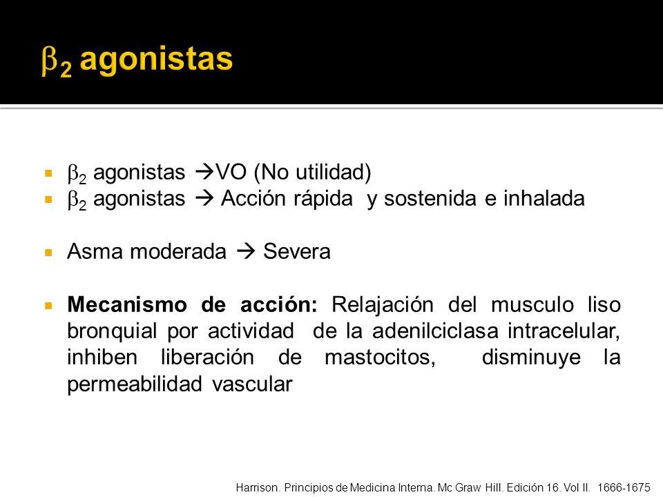 2 agonistas VO (No utilidad) 2 agonistas Acción rápida y sostenida e inhalada Asma moderada Severa Mecanismo de acción: Relajación del musculo liso br