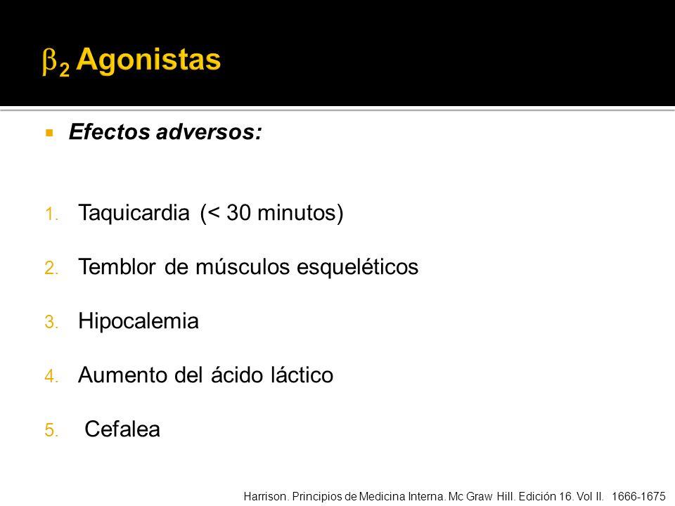 Efectos adversos: 1. Taquicardia (< 30 minutos) 2. Temblor de músculos esqueléticos 3. Hipocalemia 4. Aumento del ácido láctico 5. Cefalea Harrison. P