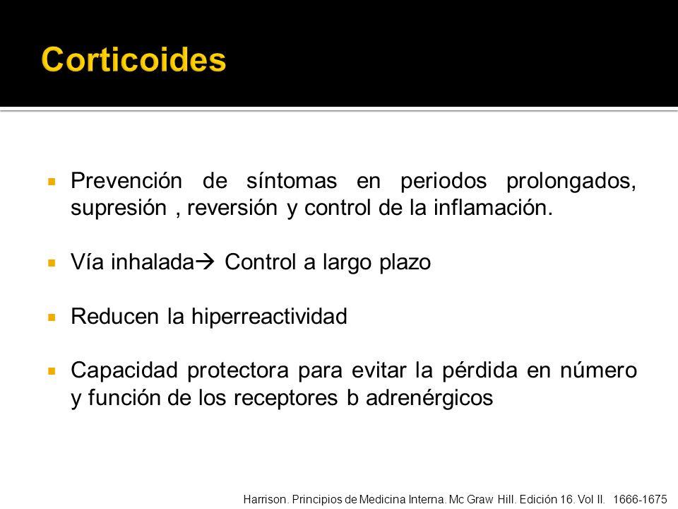Prevención de síntomas en periodos prolongados, supresión, reversión y control de la inflamación. Vía inhalada Control a largo plazo Reducen la hiperr
