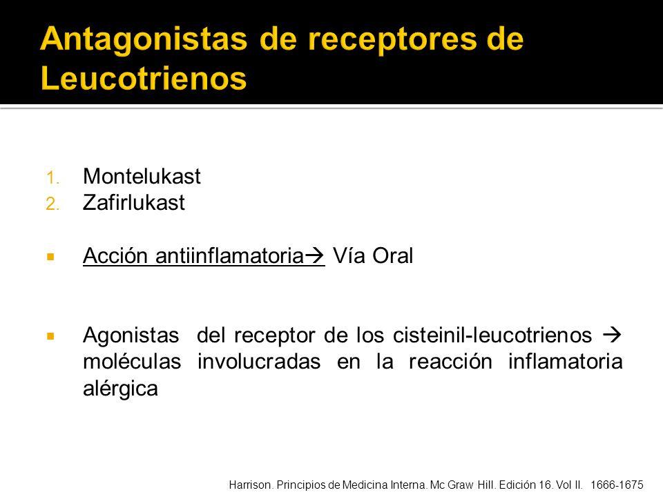 1. Montelukast 2. Zafirlukast Acción antiinflamatoria Vía Oral Agonistas del receptor de los cisteinil-leucotrienos moléculas involucradas en la reacc