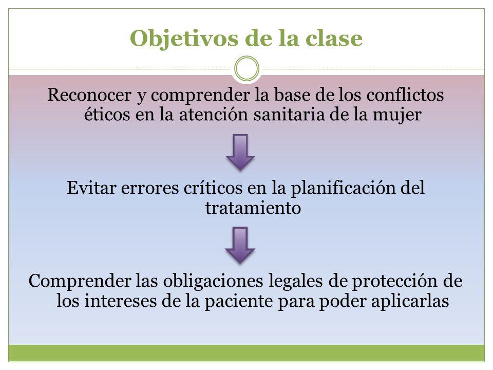 Objetivos de la clase Reconocer y comprender la base de los conflictos éticos en la atención sanitaria de la mujer Evitar errores críticos en la plani