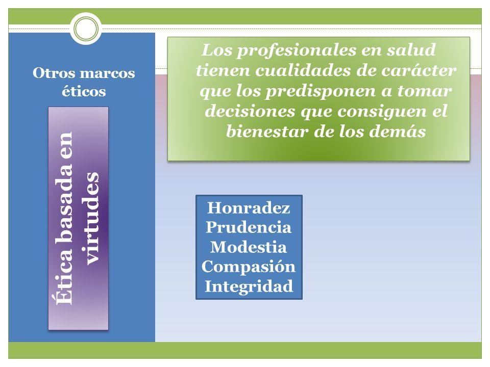 Otros marcos éticos Ética basada en virtudes Los profesionales en salud tienen cualidades de carácter que los predisponen a tomar decisiones que consi