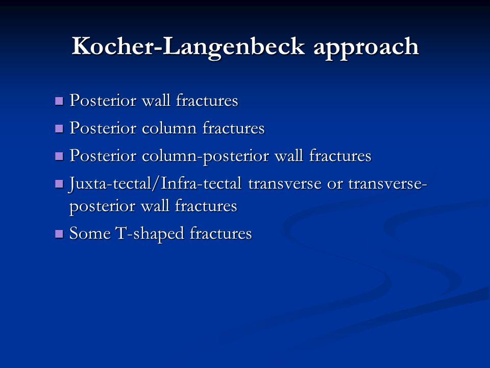 Kocher-Langenbeck approach Posterior wall fractures Posterior wall fractures Posterior column fractures Posterior column fractures Posterior column-po