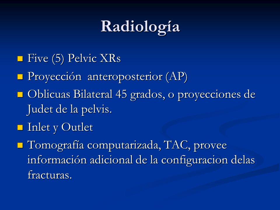 Radiología Five (5) Pelvic XRs Five (5) Pelvic XRs Proyección anteroposterior (AP) Proyección anteroposterior (AP) Oblicuas Bilateral 45 grados, o pro