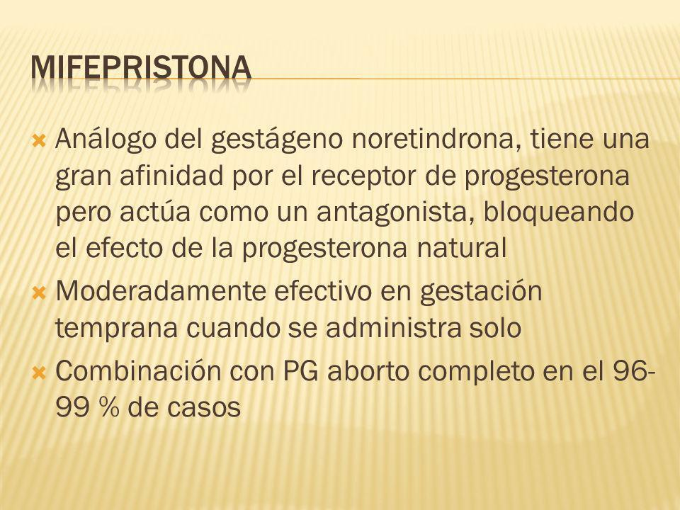 Análogo del gestágeno noretindrona, tiene una gran afinidad por el receptor de progesterona pero actúa como un antagonista, bloqueando el efecto de la