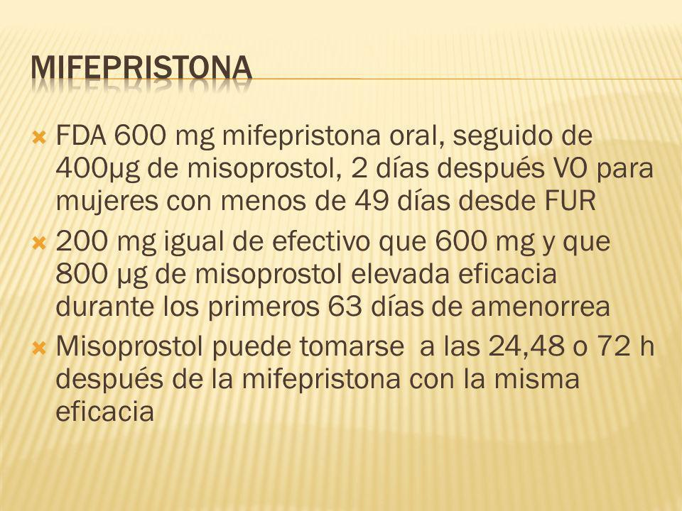 FDA 600 mg mifepristona oral, seguido de 400µg de misoprostol, 2 días después VO para mujeres con menos de 49 días desde FUR 200 mg igual de efectivo