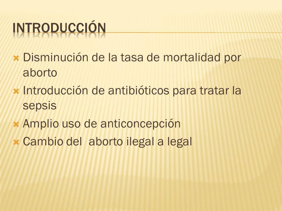 Disminución de la tasa de mortalidad por aborto Introducción de antibióticos para tratar la sepsis Amplio uso de anticoncepción Cambio del aborto ileg