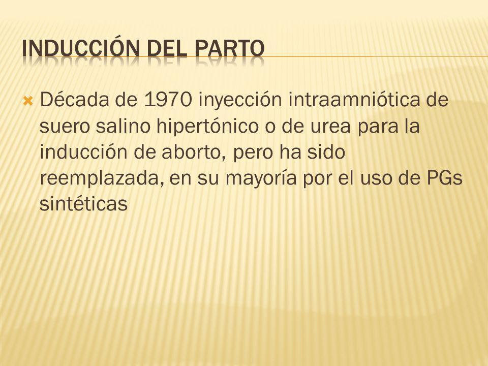 Década de 1970 inyección intraamniótica de suero salino hipertónico o de urea para la inducción de aborto, pero ha sido reemplazada, en su mayoría por