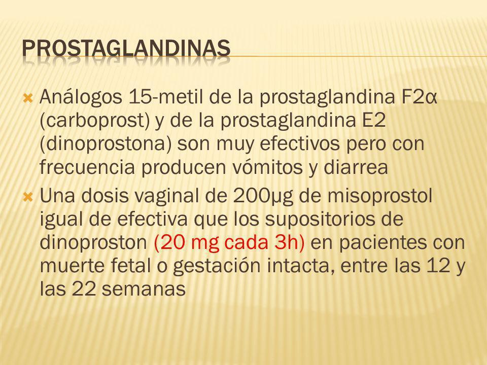 Análogos 15-metil de la prostaglandina F2α (carboprost) y de la prostaglandina E2 (dinoprostona) son muy efectivos pero con frecuencia producen vómito