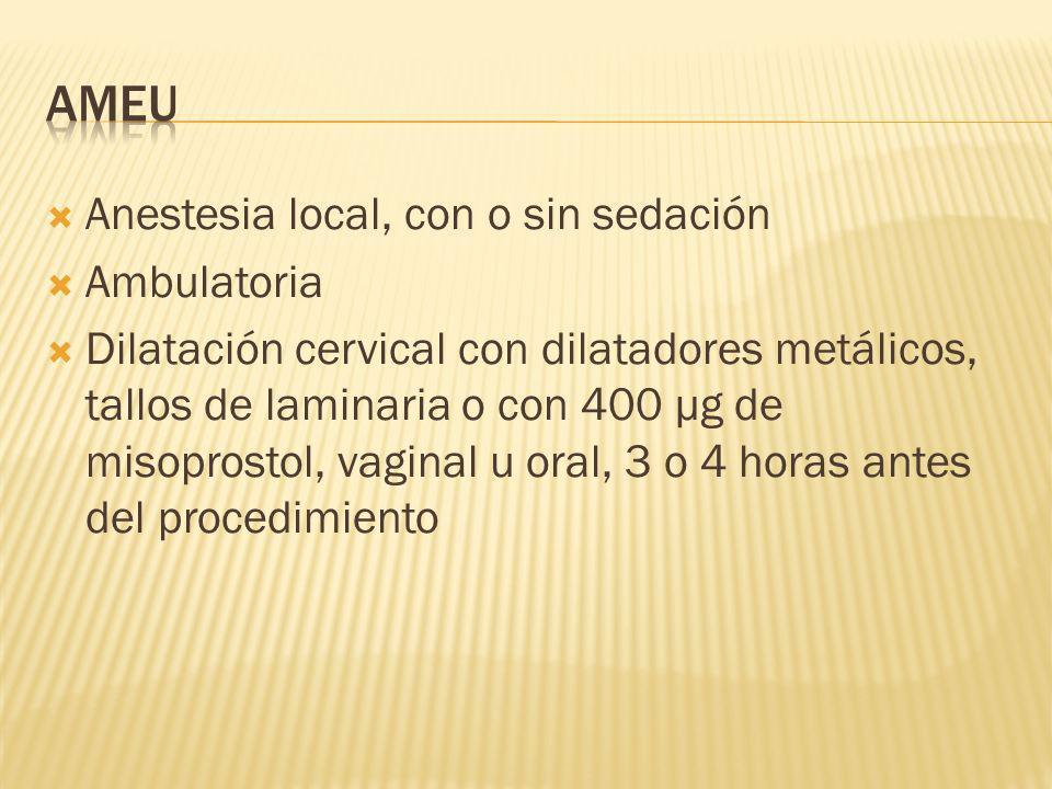 Anestesia local, con o sin sedación Ambulatoria Dilatación cervical con dilatadores metálicos, tallos de laminaria o con 400 µg de misoprostol, vagina
