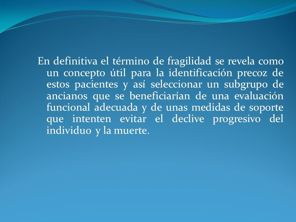 En definitiva el término de fragilidad se revela como un concepto útil para la identificación precoz de estos pacientes y así seleccionar un subgrupo