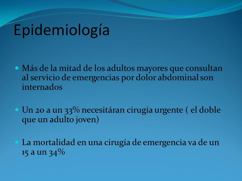 Epidemiología Más de la mitad de los adultos mayores que consultan al servicio de emergencias por dolor abdominal son internados Un 20 a un 33% necesi