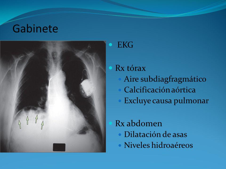 Gabinete EKG Rx tórax Aire subdiagfragmático Calcificación aórtica Excluye causa pulmonar Rx abdomen Dilatación de asas Niveles hidroaéreos