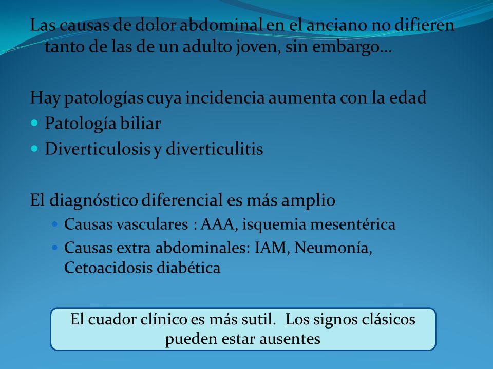 Las causas de dolor abdominal en el anciano no difieren tanto de las de un adulto joven, sin embargo… Hay patologías cuya incidencia aumenta con la ed