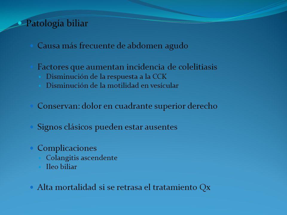 Patología biliar Causa más frecuente de abdomen agudo Factores que aumentan incidencia de colelitiasis Disminución de la respuesta a la CCK Disminució