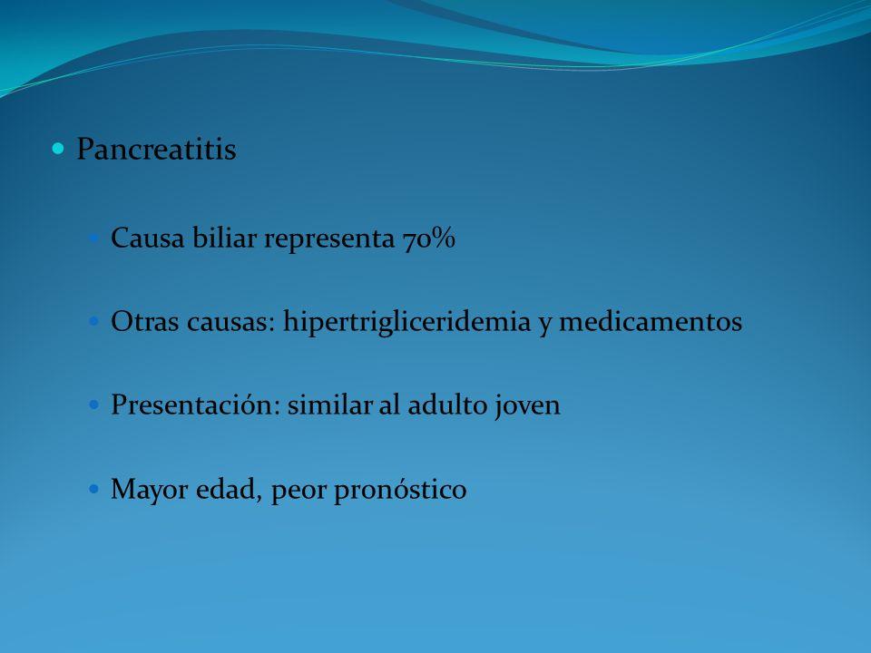 Pancreatitis Causa biliar representa 70% Otras causas: hipertrigliceridemia y medicamentos Presentación: similar al adulto joven Mayor edad, peor pron