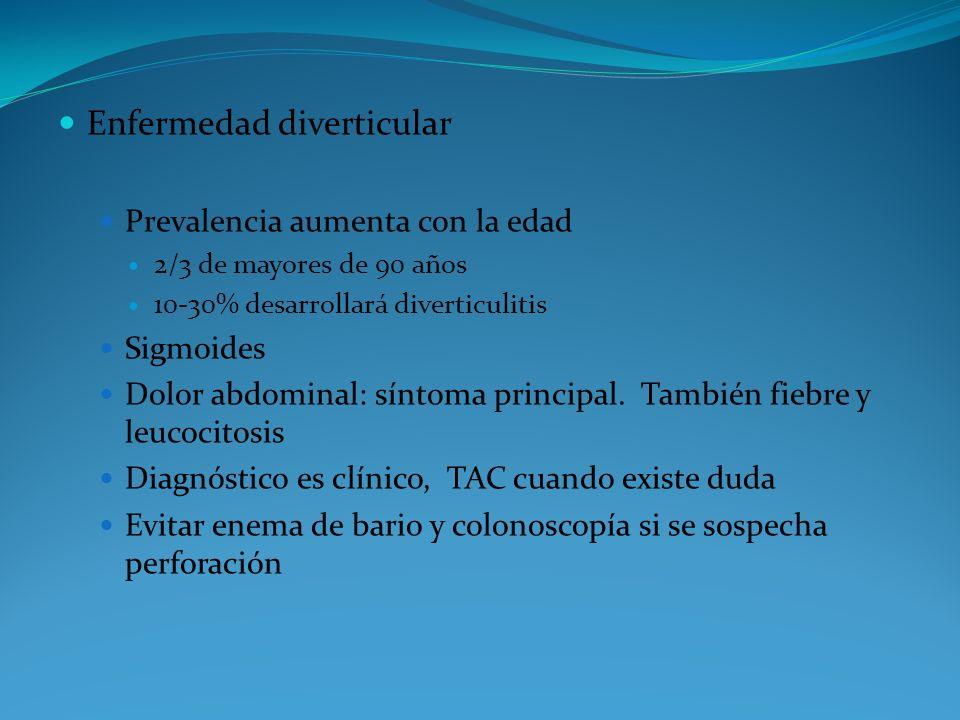 Enfermedad diverticular Prevalencia aumenta con la edad 2/3 de mayores de 90 años 10-30% desarrollará diverticulitis Sigmoides Dolor abdominal: síntom