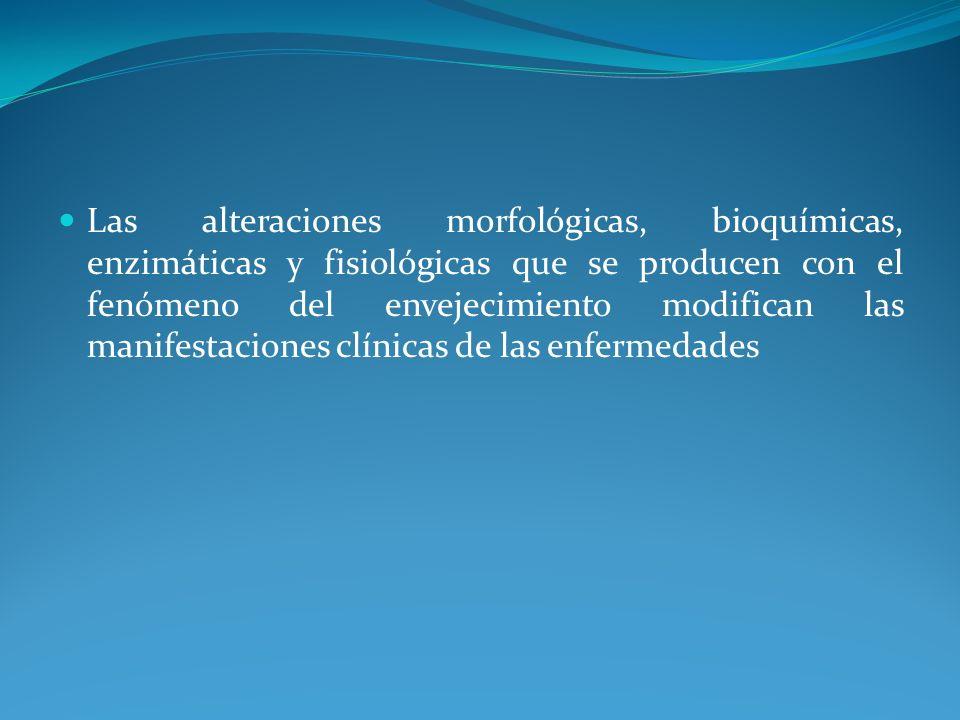 Las alteraciones morfológicas, bioquímicas, enzimáticas y fisiológicas que se producen con el fenómeno del envejecimiento modifican las manifestacione