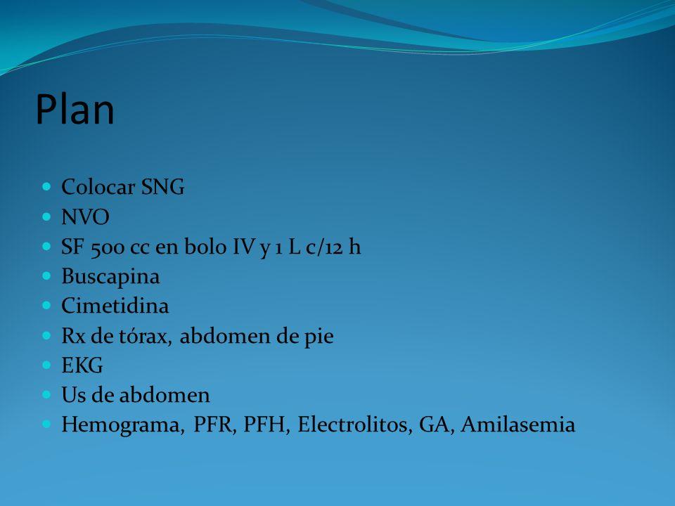 Plan Colocar SNG NVO SF 500 cc en bolo IV y 1 L c/12 h Buscapina Cimetidina Rx de tórax, abdomen de pie EKG Us de abdomen Hemograma, PFR, PFH, Electro