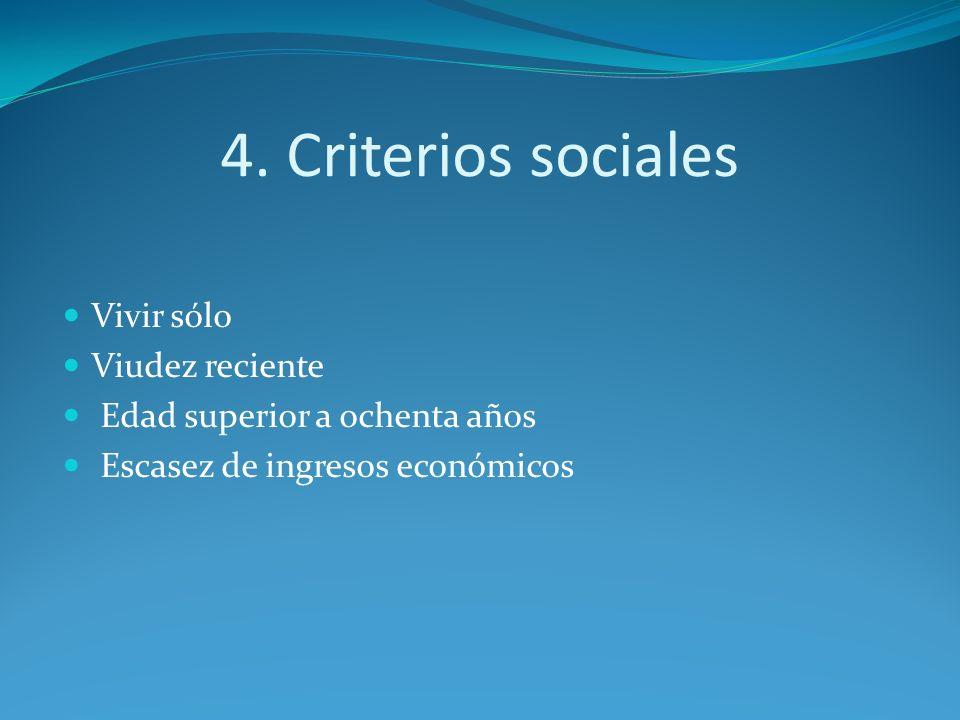 4. Criterios sociales Vivir sólo Viudez reciente Edad superior a ochenta años Escasez de ingresos económicos