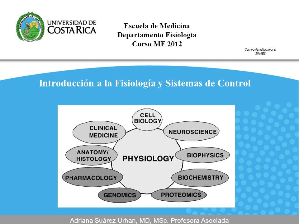 Introducción a la Fisiología y Sistemas de Control Adriana Suárez Urhan, MD, MSc. Profesora Asociada Escuela de Medicina Departamento Fisiología Curso