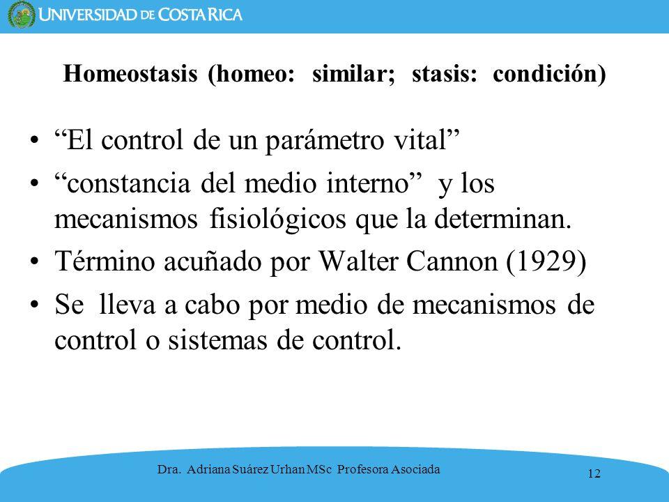 12 Homeostasis (homeo: similar; stasis: condición) El control de un parámetro vital constancia del medio interno y los mecanismos fisiológicos que la