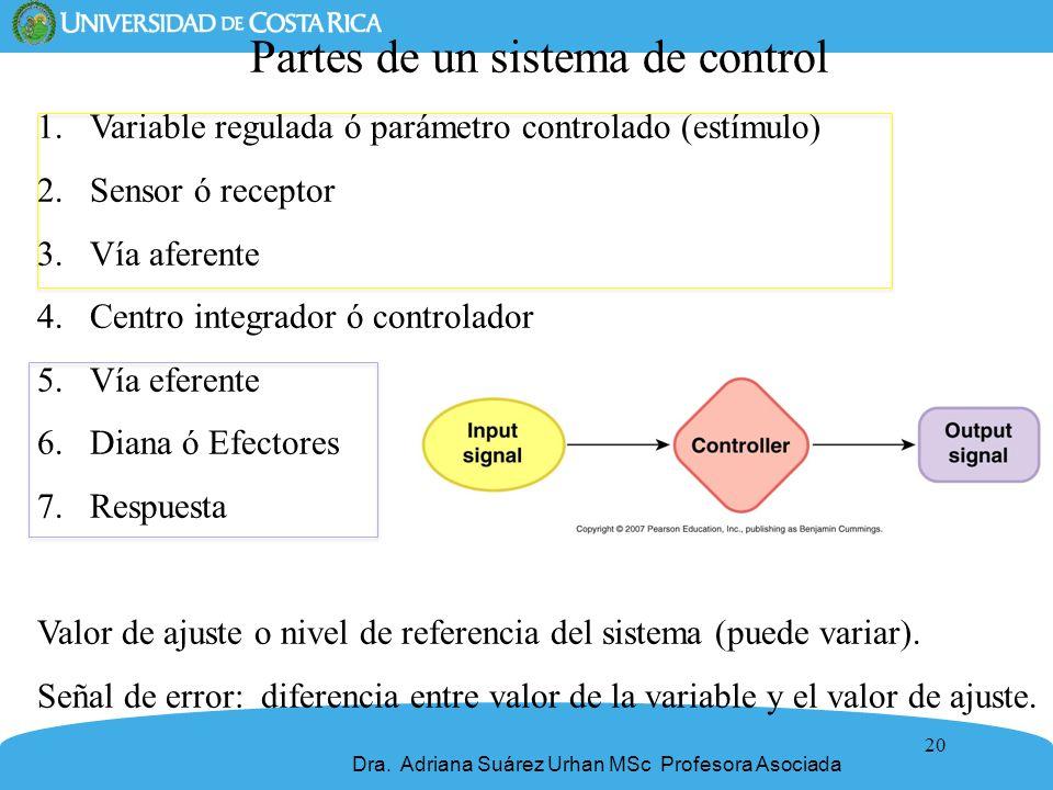 20 Partes de un sistema de control 1.Variable regulada ó parámetro controlado (estímulo) 2.Sensor ó receptor 3.Vía aferente 4.Centro integrador ó cont